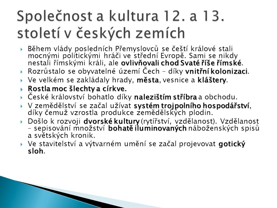 Společnost a kultura 12. a 13. století v českých zemích