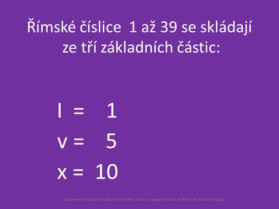 Římské číslice 1 až 39 se skládají ze tří základních částic: