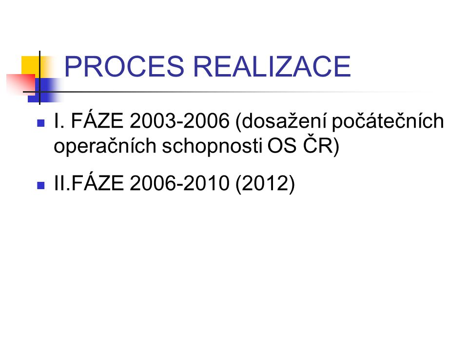 PROCES REALIZACE I.