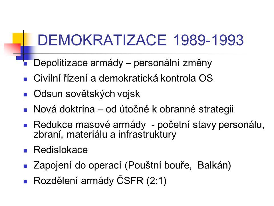 DEMOKRATIZACE 1989-1993 Depolitizace armády – personální změny