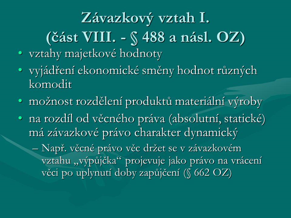 Závazkový vztah I. (část VIII. - § 488 a násl. OZ)