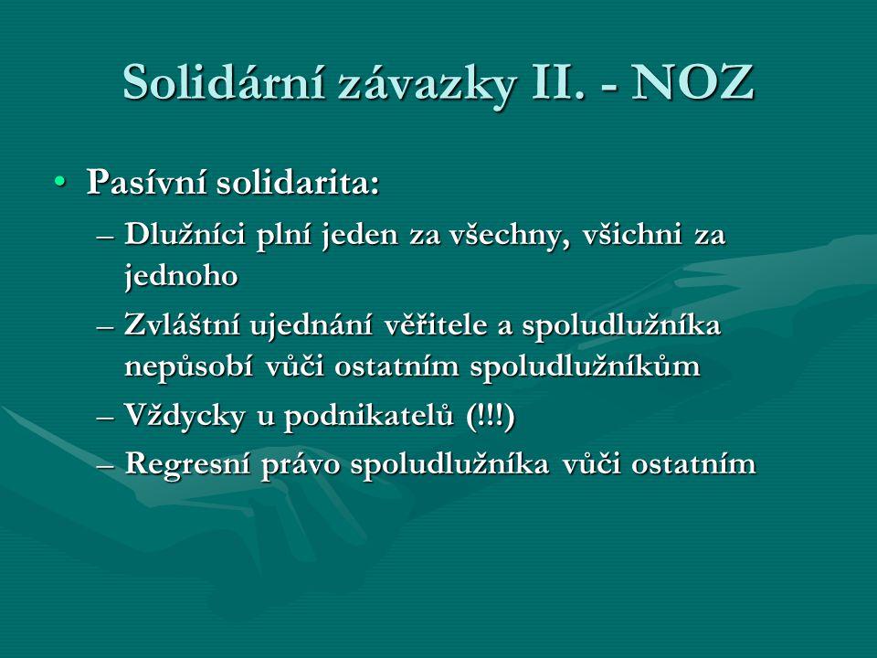 Solidární závazky II. - NOZ