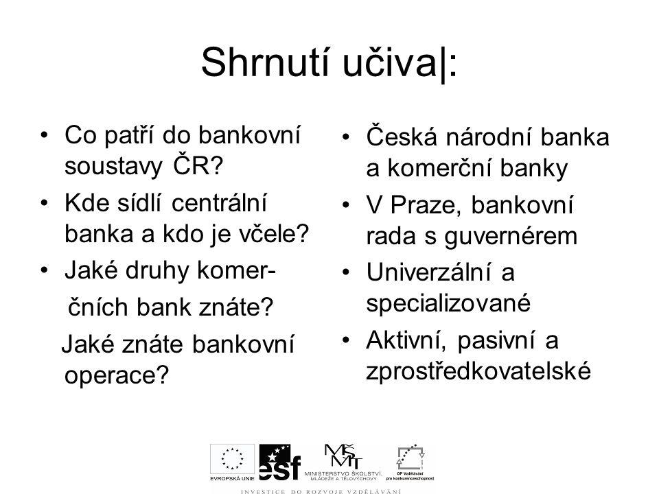 Shrnutí učiva|: Co patří do bankovní soustavy ČR