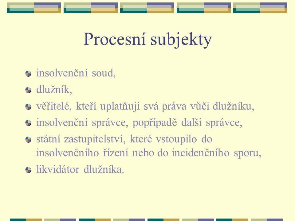 Procesní subjekty insolvenční soud, dlužník,