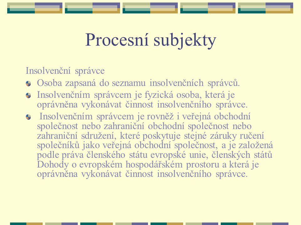 Procesní subjekty Insolvenční správce