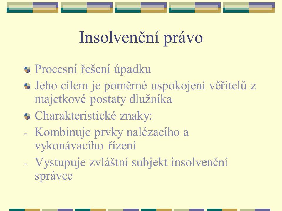 Insolvenční právo Procesní řešení úpadku