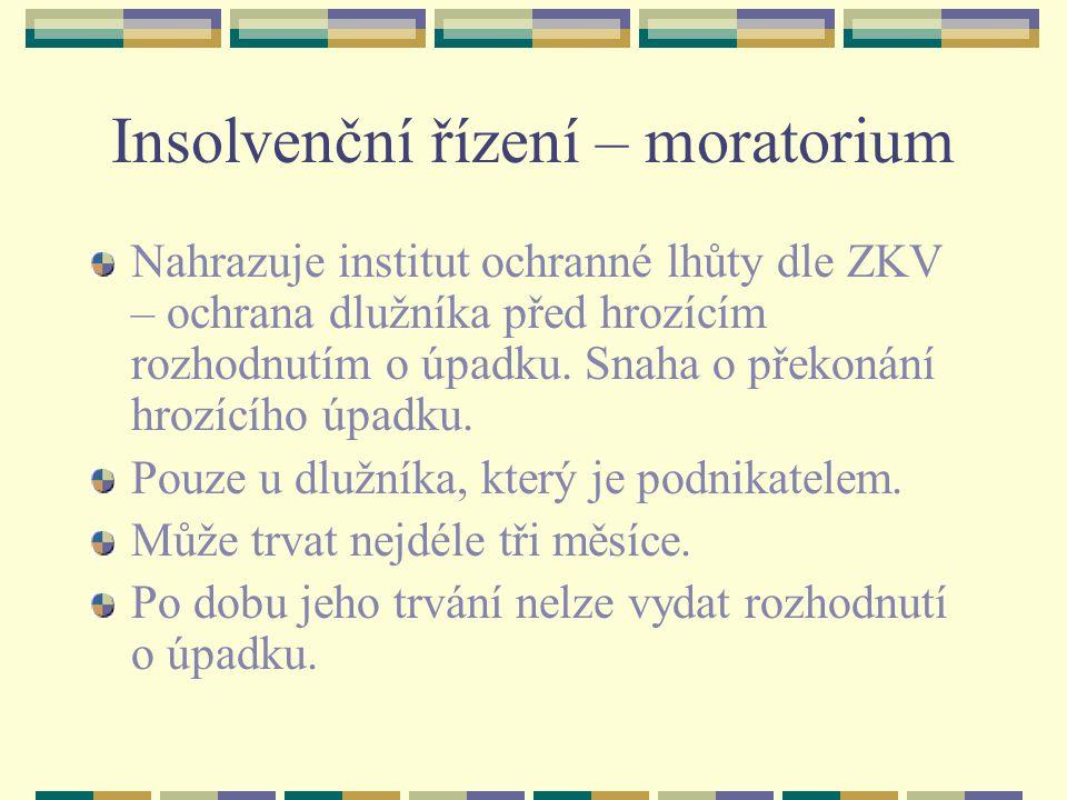 Insolvenční řízení – moratorium
