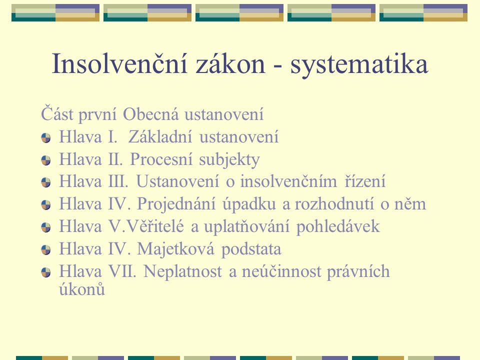 Insolvenční zákon - systematika