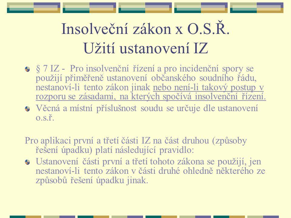 Insolveční zákon x O.S.Ř. Užití ustanovení IZ
