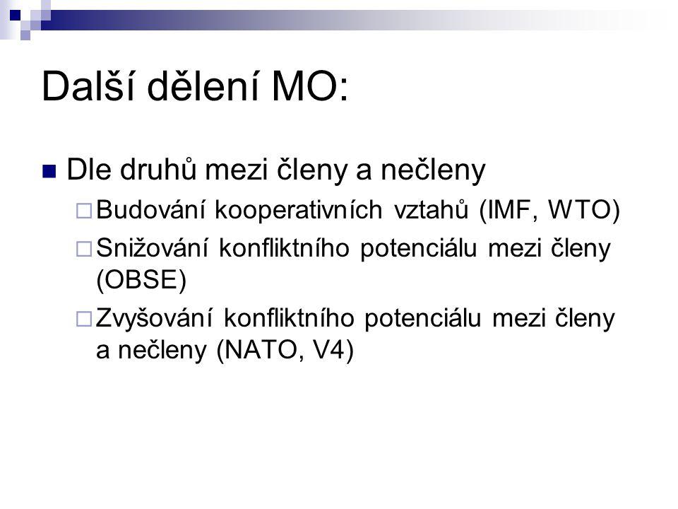 Další dělení MO: Dle druhů mezi členy a nečleny
