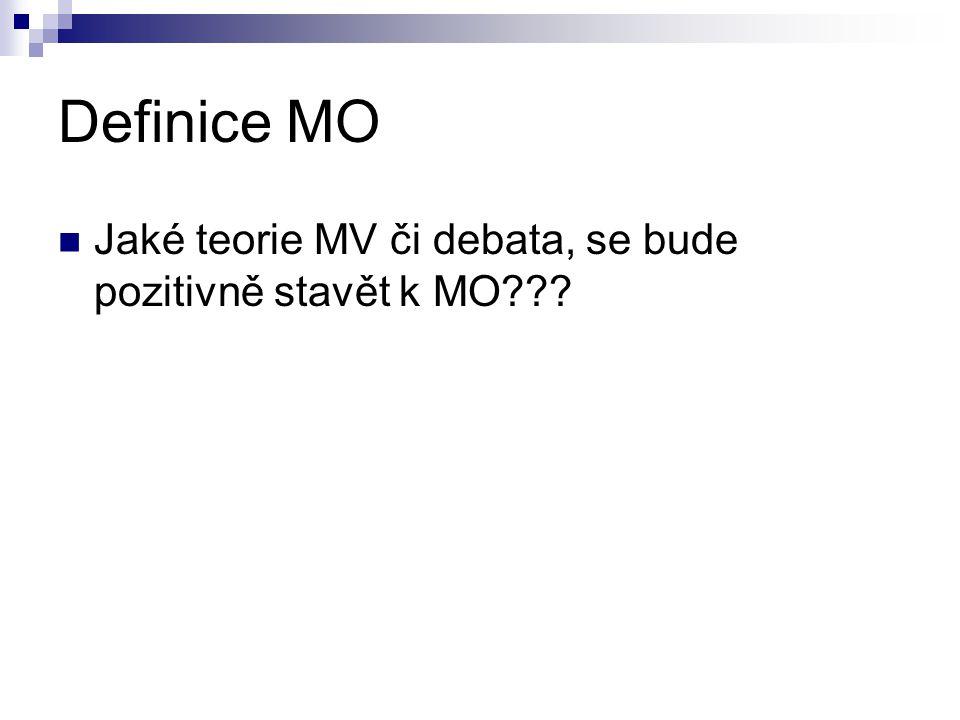 Definice MO Jaké teorie MV či debata, se bude pozitivně stavět k MO