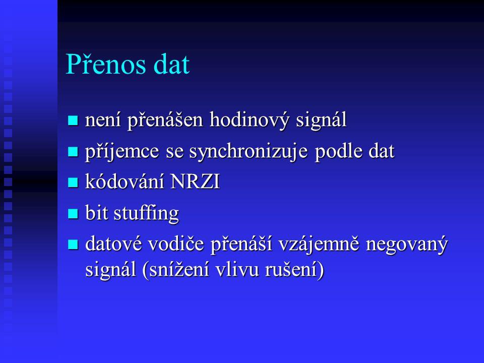 Přenos dat není přenášen hodinový signál