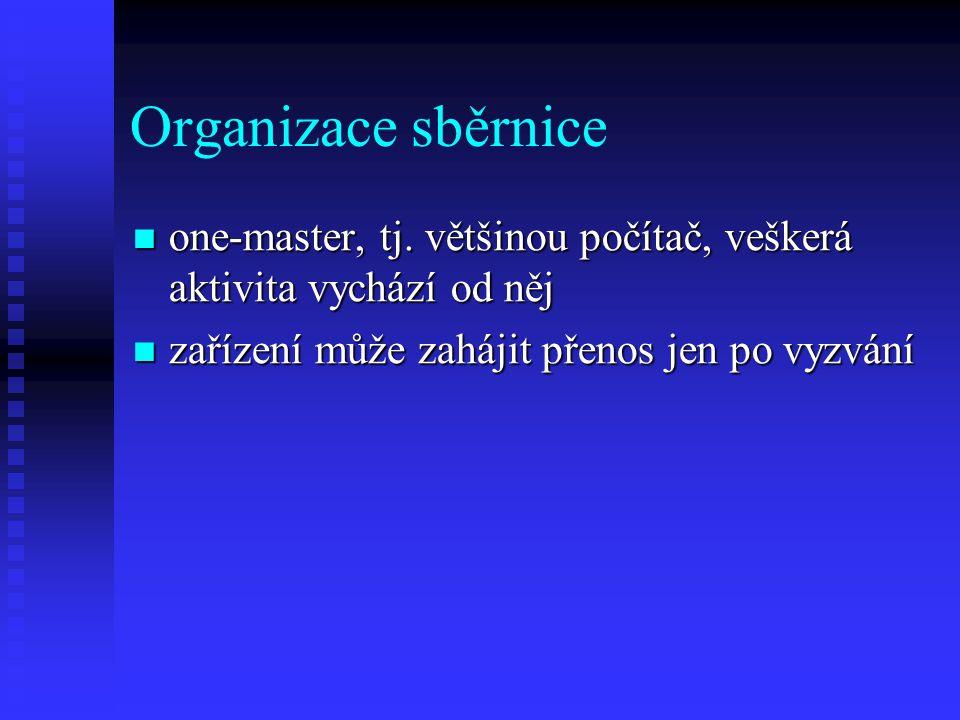 Organizace sběrnice one-master, tj. většinou počítač, veškerá aktivita vychází od něj.
