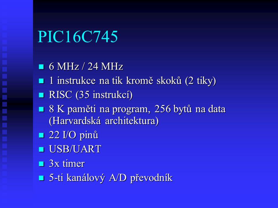 PIC16C745 6 MHz / 24 MHz 1 instrukce na tik kromě skoků (2 tiky)