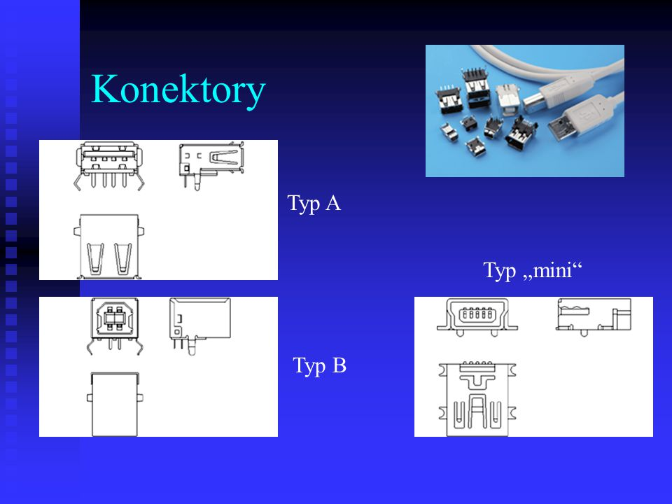 "Konektory Typ A Typ ""mini Typ B"