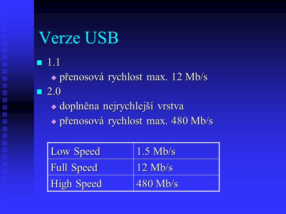 Verze USB 1.1 přenosová rychlost max. 12 Mb/s 2.0