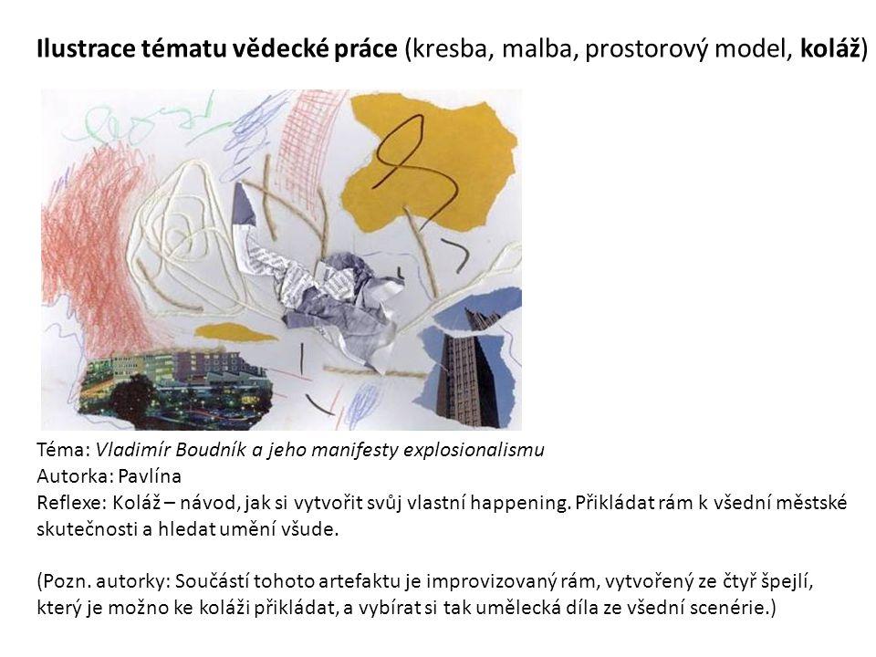 Ilustrace tématu vědecké práce (kresba, malba, prostorový model, koláž)