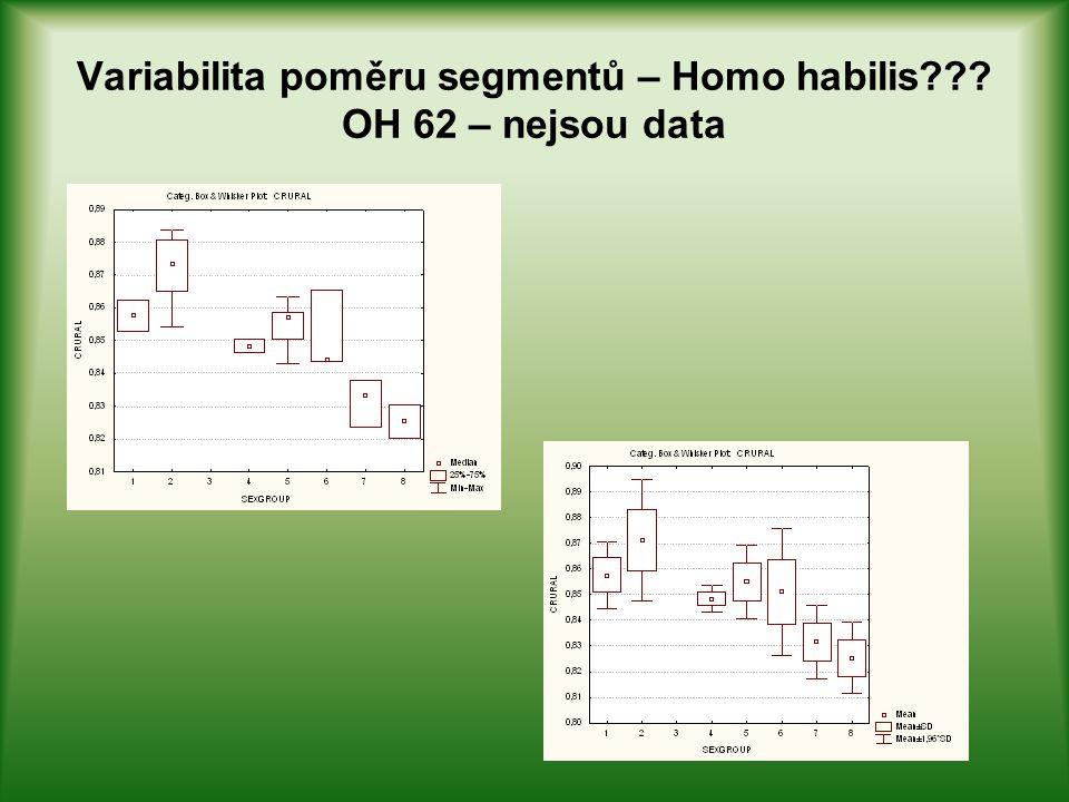 Variabilita poměru segmentů – Homo habilis OH 62 – nejsou data