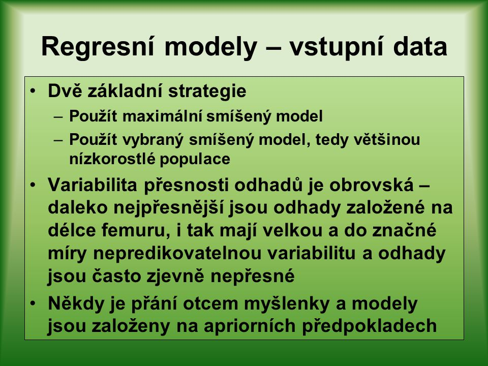 Regresní modely – vstupní data