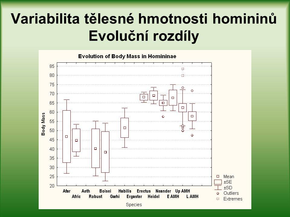Variabilita tělesné hmotnosti homininů Evoluční rozdíly