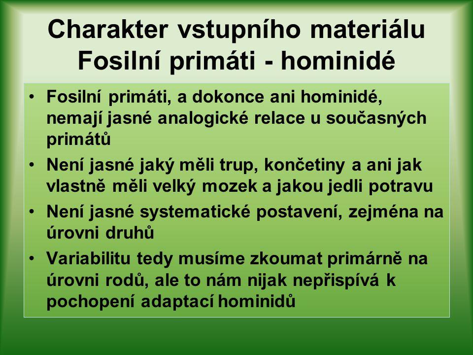 Charakter vstupního materiálu Fosilní primáti - hominidé