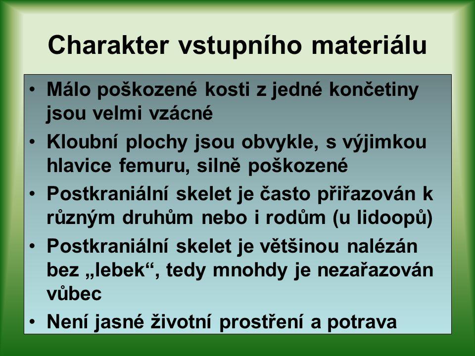 Charakter vstupního materiálu