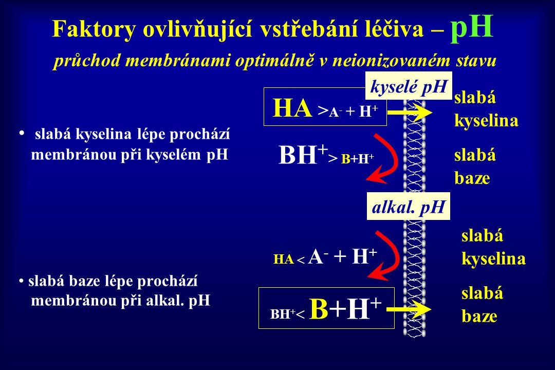 Faktory ovlivňující vstřebání léčiva – pH