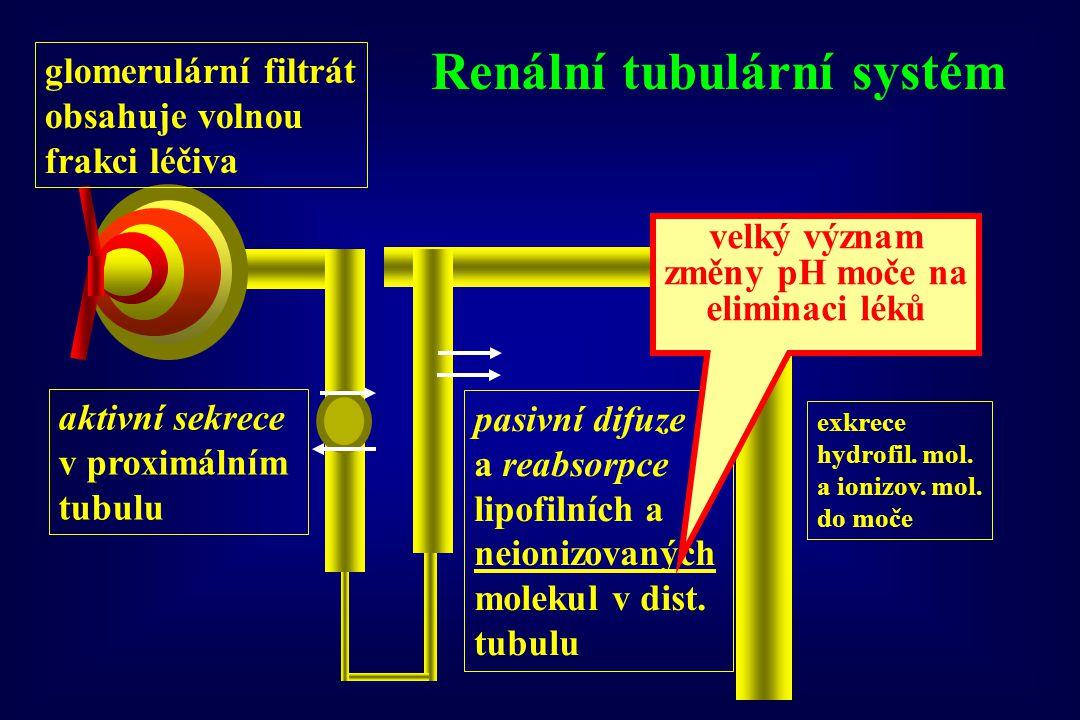 Renální tubulární systém velký význam změny pH moče na eliminaci léků