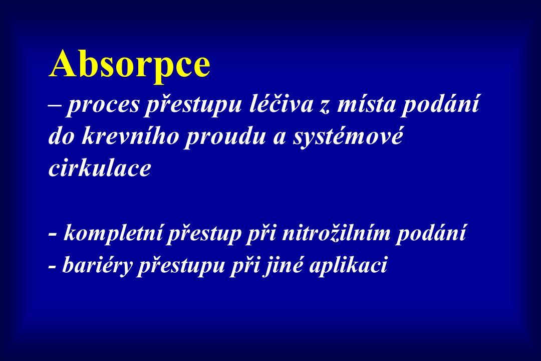 Absorpce – proces přestupu léčiva z místa podání do krevního proudu a systémové cirkulace - kompletní přestup při nitrožilním podání - bariéry přestupu při jiné aplikaci