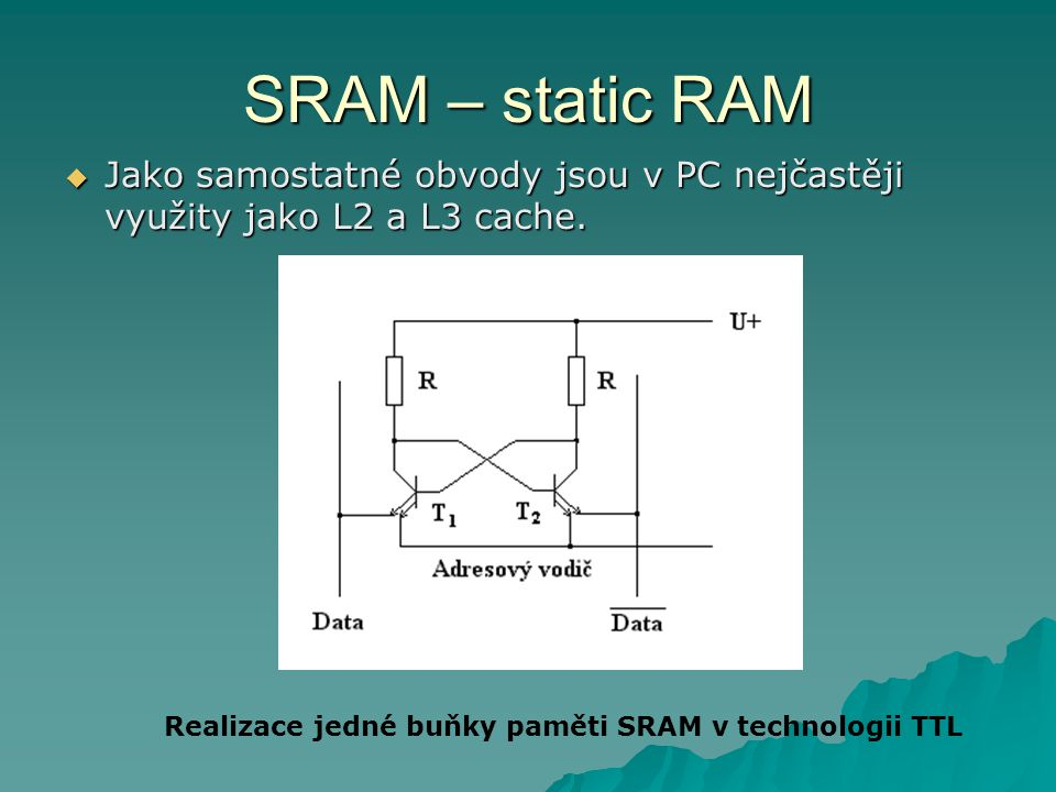 SRAM – static RAM Jako samostatné obvody jsou v PC nejčastěji využity jako L2 a L3 cache.