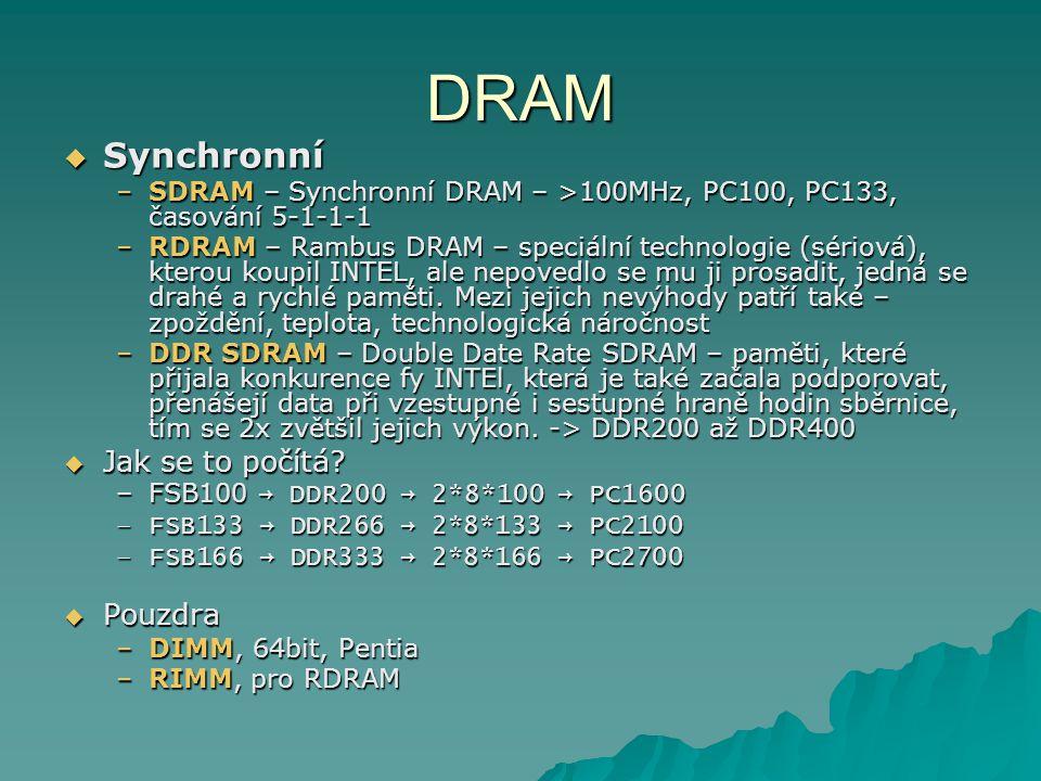DRAM Synchronní Jak se to počítá Pouzdra