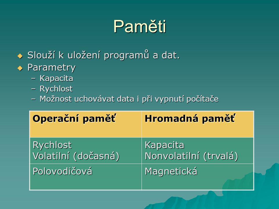 Paměti Slouží k uložení programů a dat. Parametry Operační paměť