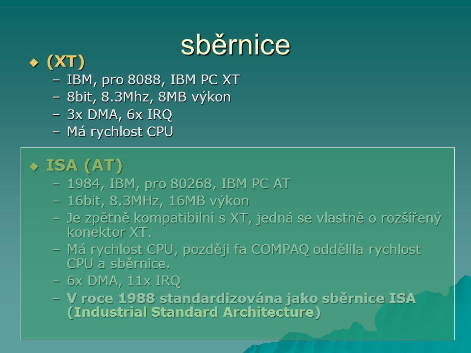 sběrnice (XT) ISA (AT) IBM, pro 8088, IBM PC XT