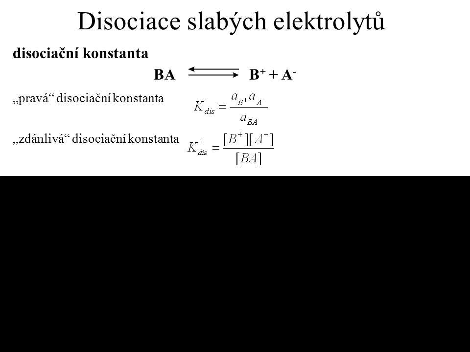 Disociace slabých elektrolytů
