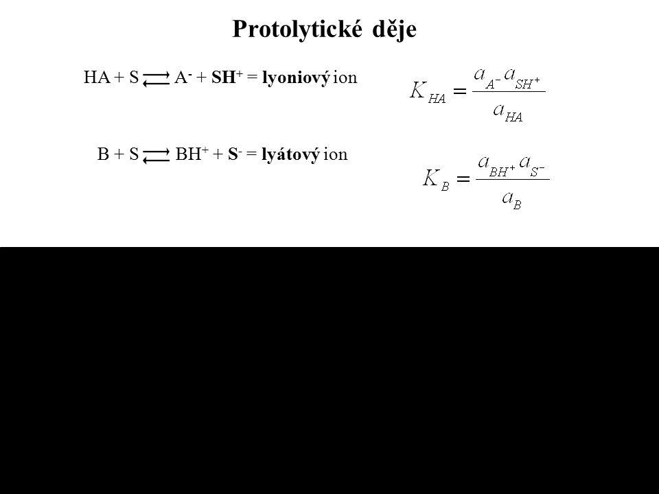 Protolytické děje HA + S A- + SH+ = lyoniový ion