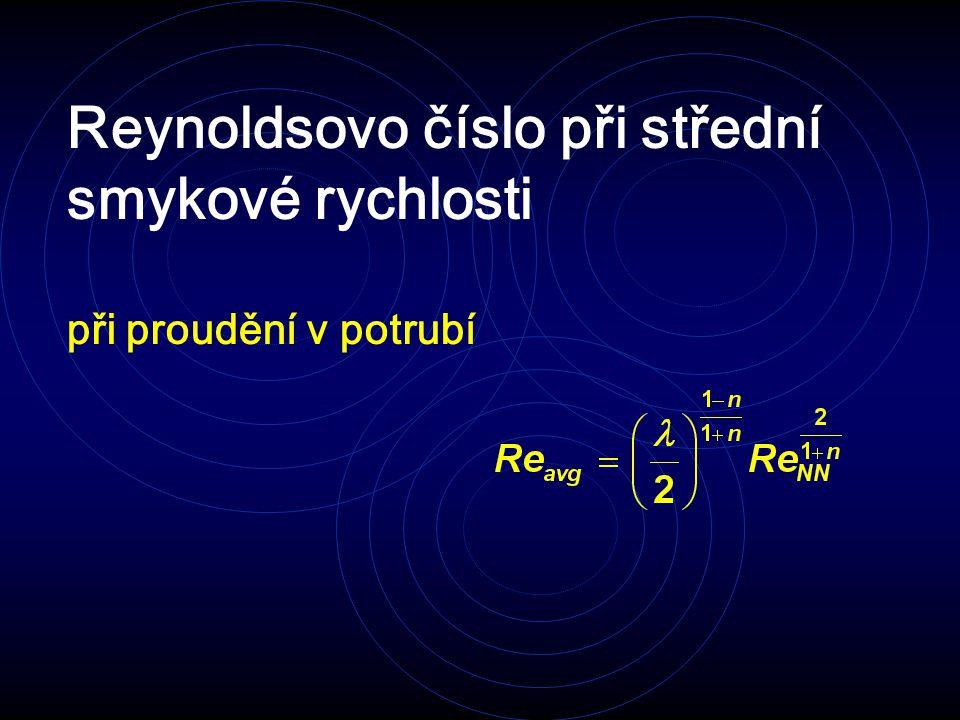 Reynoldsovo číslo při střední smykové rychlosti při proudění v potrubí