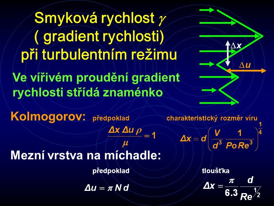 Smyková rychlost g ( gradient rychlosti) při turbulentním režimu