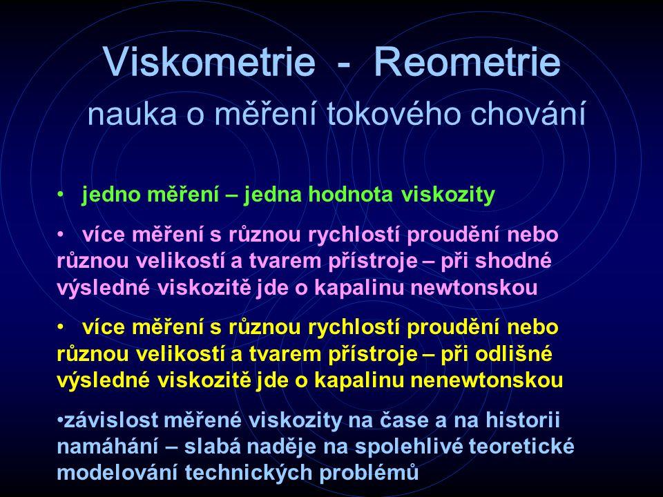 Viskometrie - Reometrie nauka o měření tokového chování