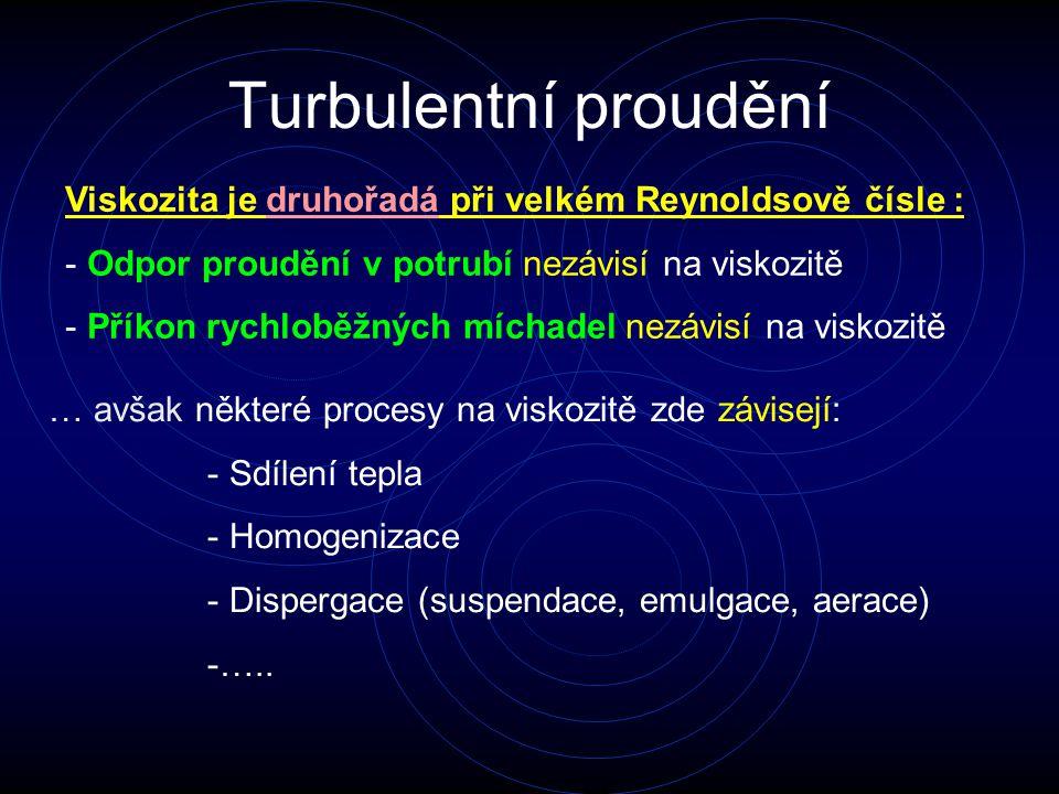 Turbulentní proudění Viskozita je druhořadá při velkém Reynoldsově čísle : Odpor proudění v potrubí nezávisí na viskozitě.