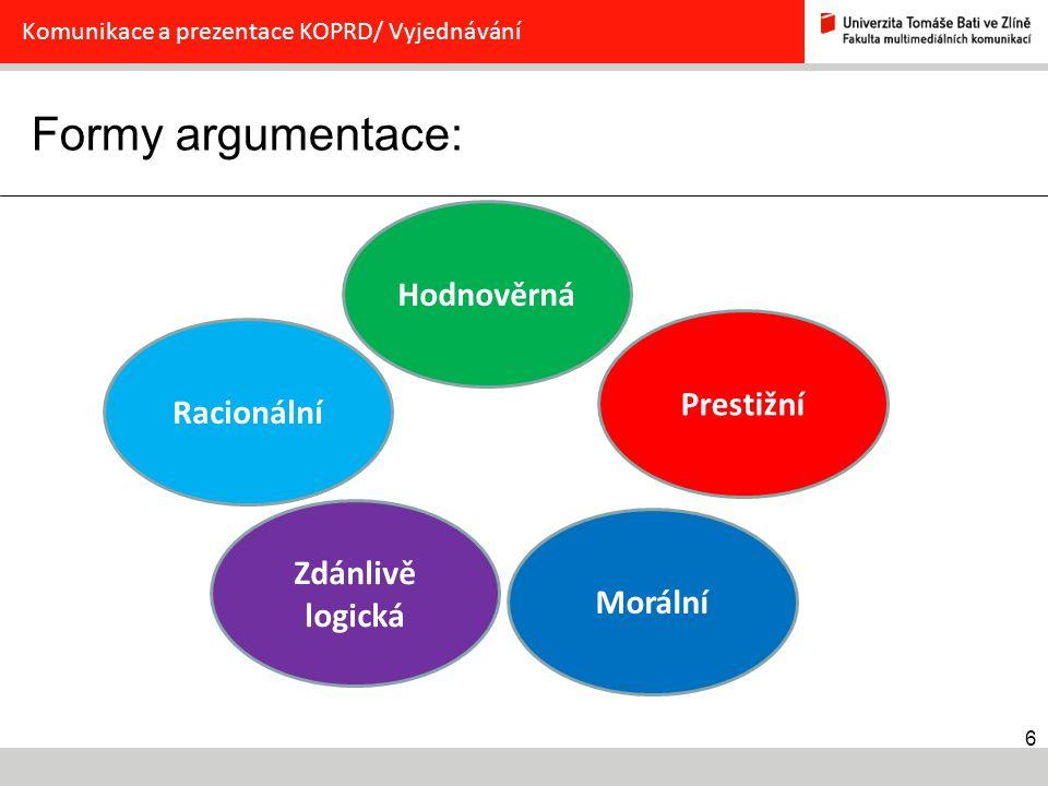 Formy argumentace: Hodnověrná Prestižní Racionální Zdánlivě logická