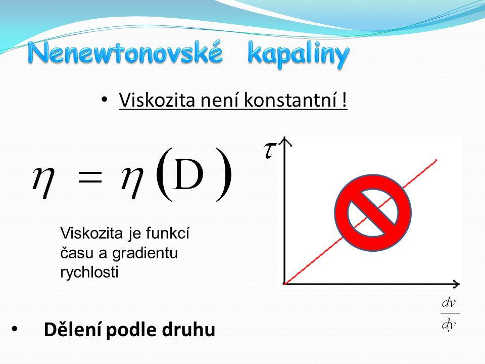 Viskozita není konstantní !