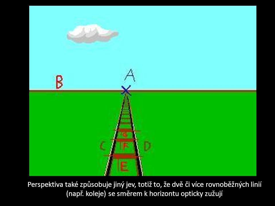 Perspektiva také způsobuje jiný jev, totiž to, že dvě či více rovnoběžných linií (např.