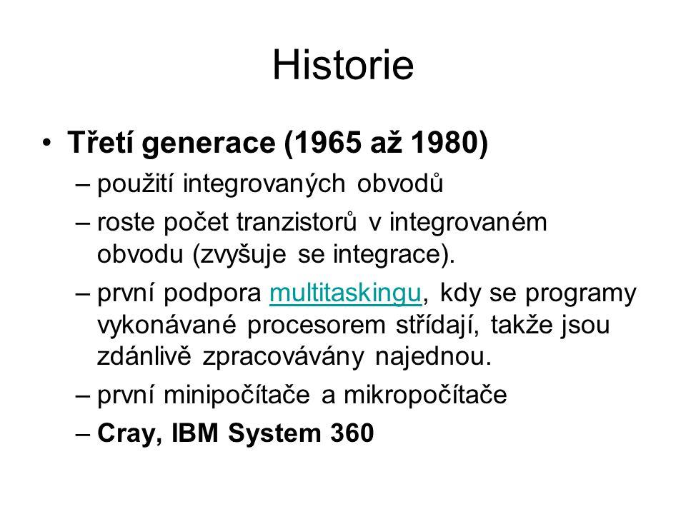 Historie Třetí generace (1965 až 1980) použití integrovaných obvodů