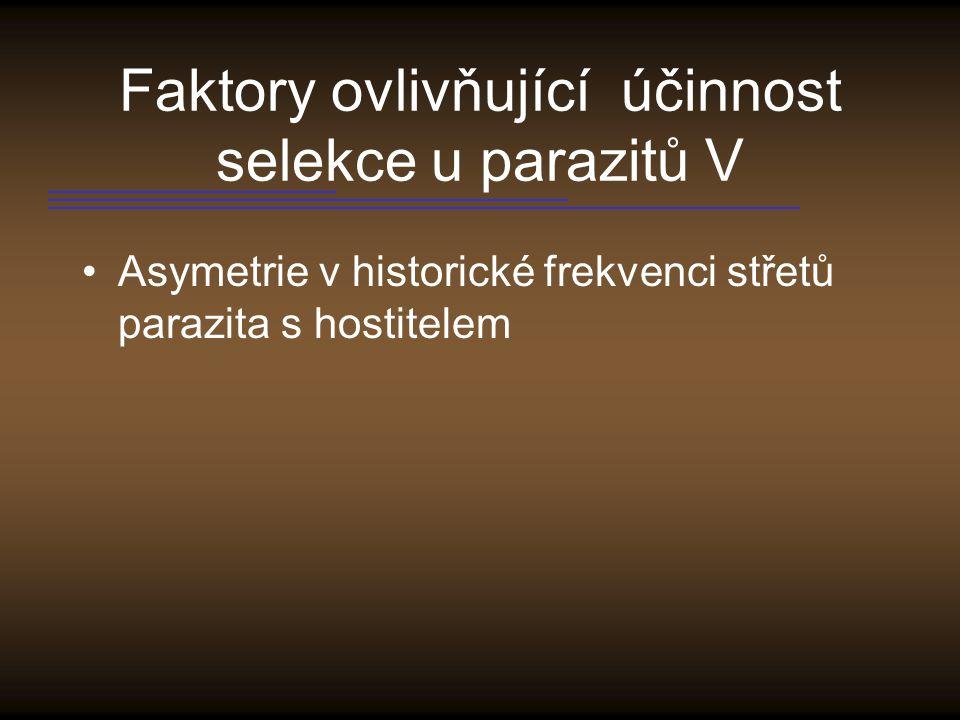 Faktory ovlivňující účinnost selekce u parazitů V