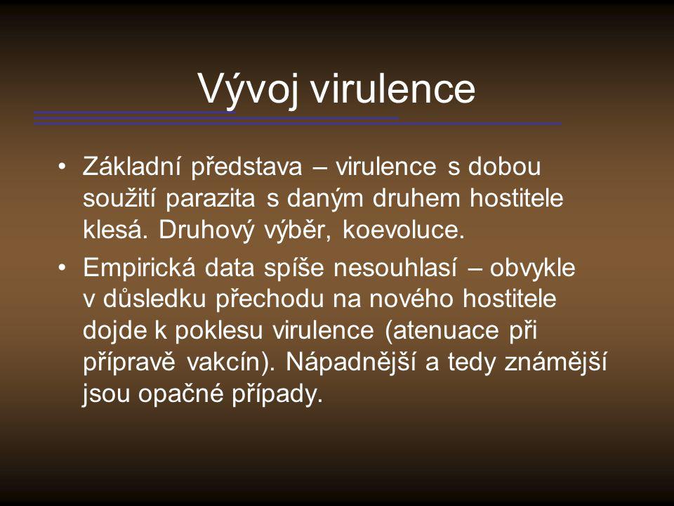 Vývoj virulence Základní představa – virulence s dobou soužití parazita s daným druhem hostitele klesá. Druhový výběr, koevoluce.