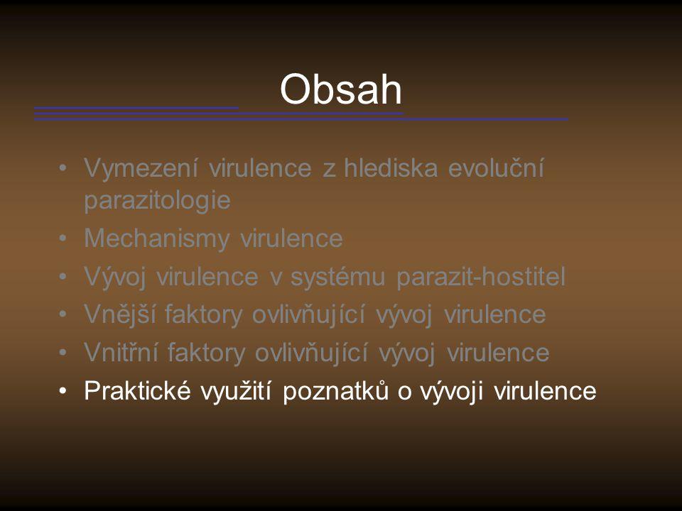 Obsah Vymezení virulence z hlediska evoluční parazitologie