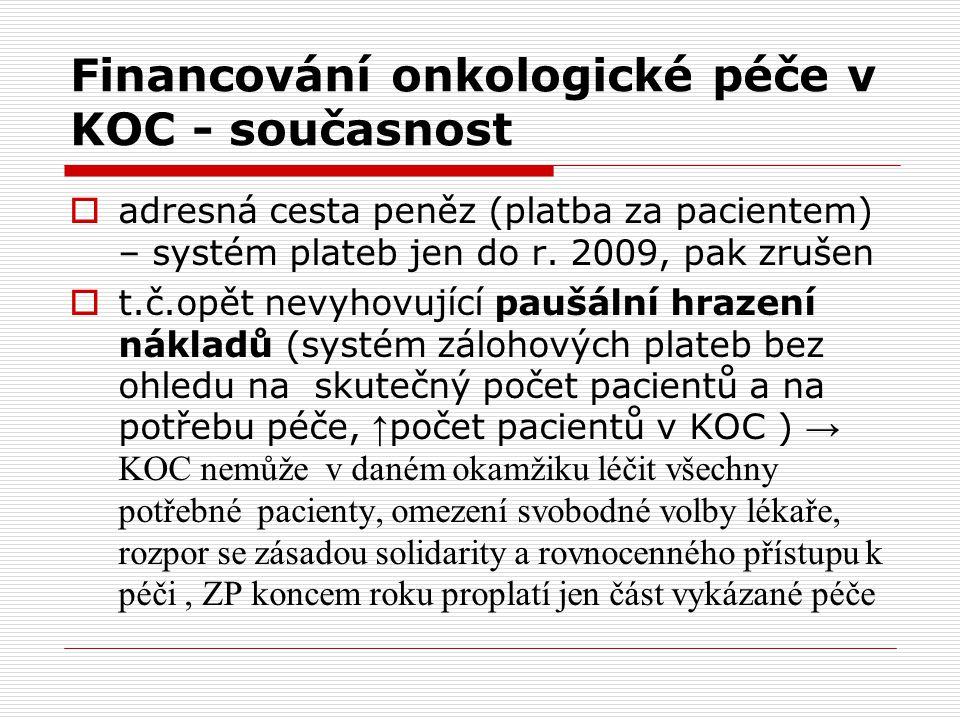 Financování onkologické péče v KOC - současnost