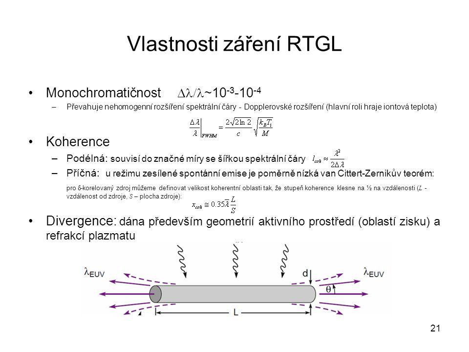 Vlastnosti záření RTGL