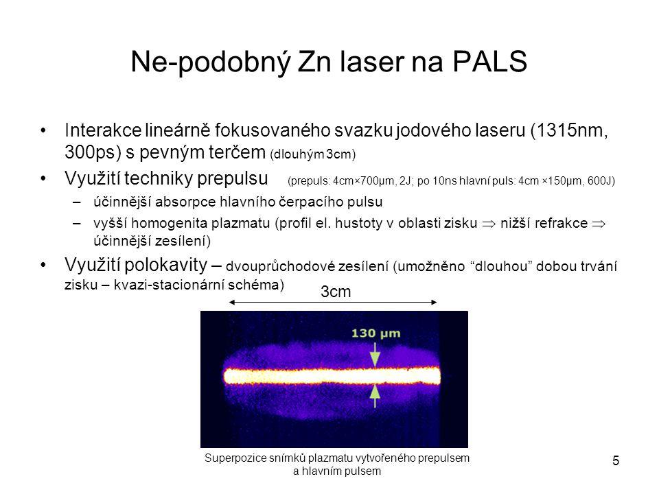 Ne-podobný Zn laser na PALS