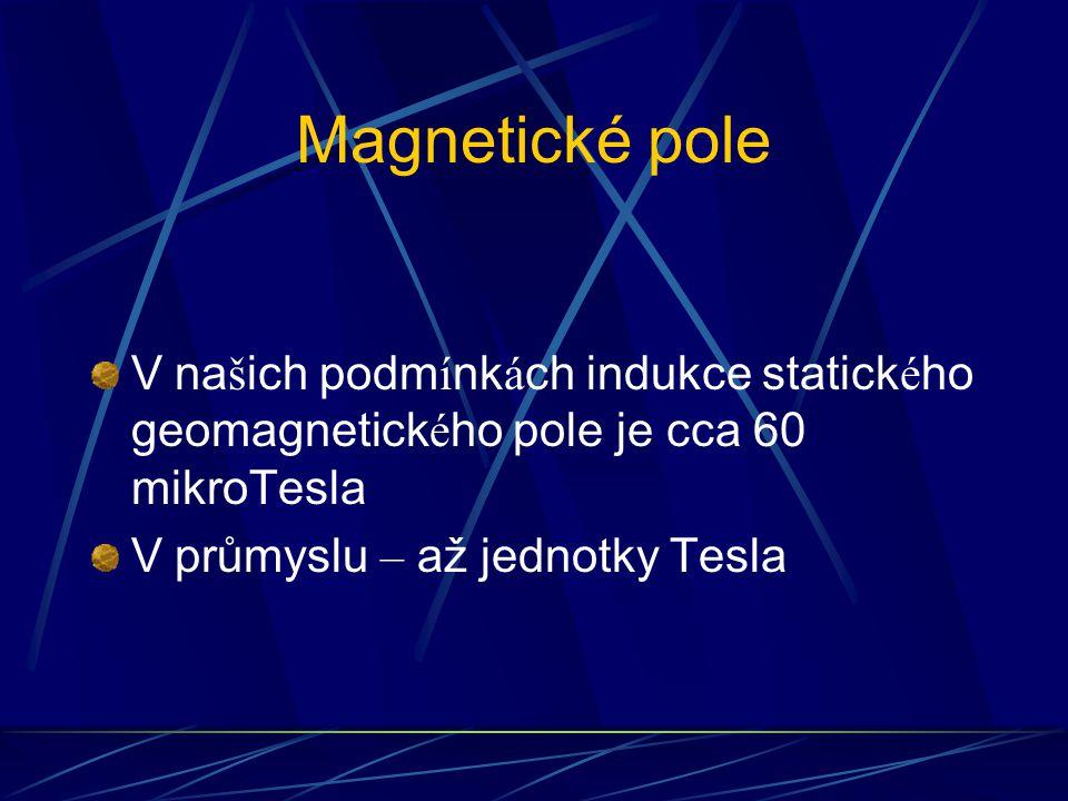 Magnetické pole V našich podmínkách indukce statického geomagnetického pole je cca 60 mikroTesla.